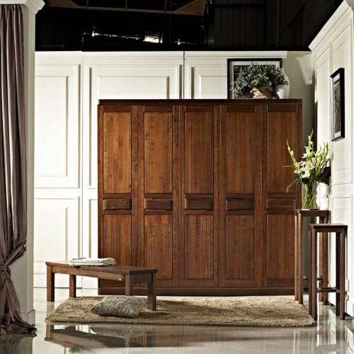 新中式实木衣柜 经济型卧室大衣橱12
