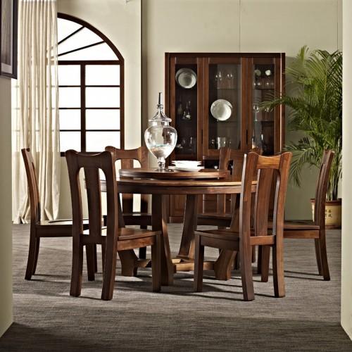 实木中式餐桌 圆形古典餐桌08