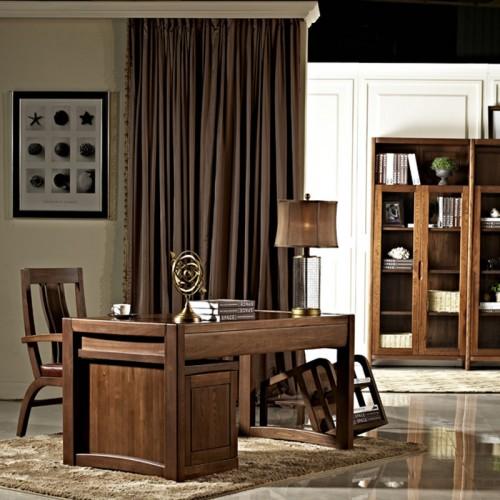 实木家用书桌 现代新中式办公书桌04