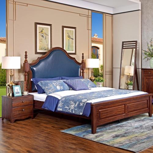 美式实木豪华卧室1.8米床S5101