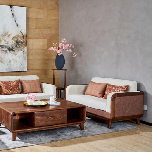 新中式实木沙发 现代简约布艺沙发01