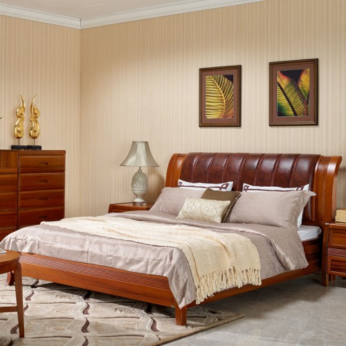 现代中式实木床 乌金木卧室双人床14