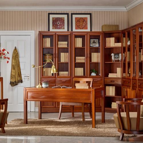 中式家用书房家具 全实木书桌书柜13