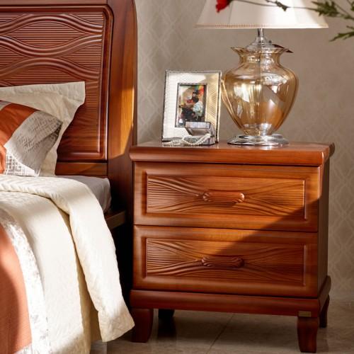现代中式实木床双人 1.8米简约现代卧室床11