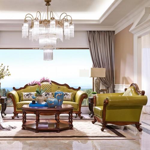 美式实木客厅沙发 新古典皮沙发21