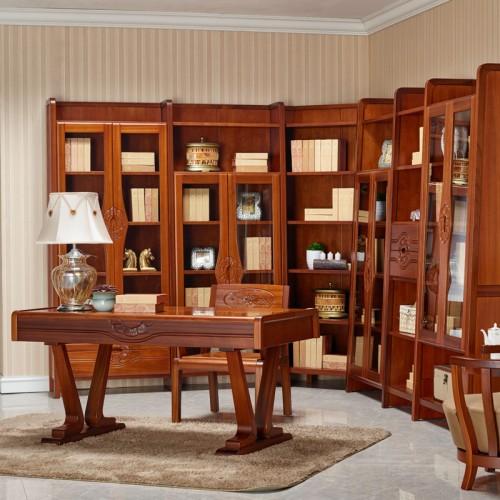 实木书柜书桌 新中式书法桌08