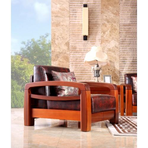中式实木沙发 简约皮艺客厅沙发06