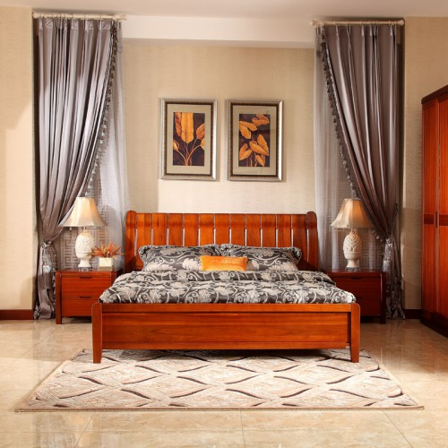 现代中式卧室床 实木双人床03