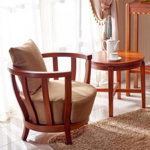 中式客厅休闲椅 实木休闲沙发01