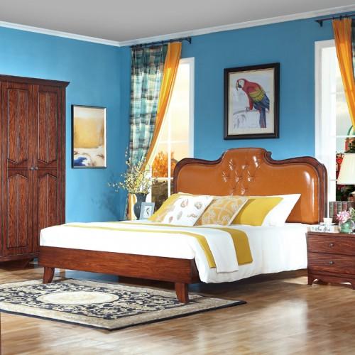 美式1.8米实木卧室床s50061