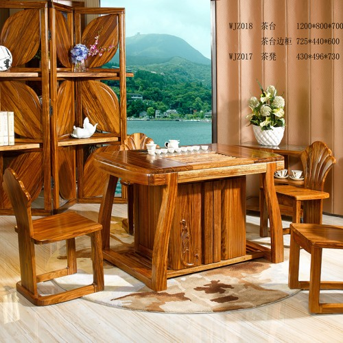 现代中式   乌金木实木茶台1200*800*700+茶台边柜+茶凳-WJZ018