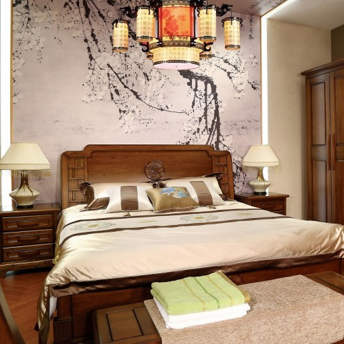 新中式  现代实木双人大床1.8米-118-1
