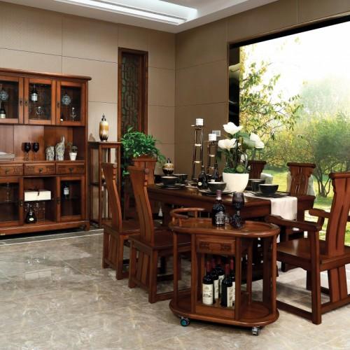 新中式  现代实木纯中式餐桌+酒柜餐边柜-IMGL6803