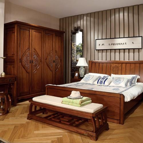 新中式  现代实木高箱双人床1.8米+四门衣柜-IMGL6806