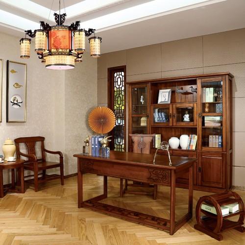 新中式  现代实木家用书桌办公书桌书柜-IMGL6829