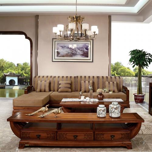 现代实木   新中式实木布艺转角沙发-IMGL6832
