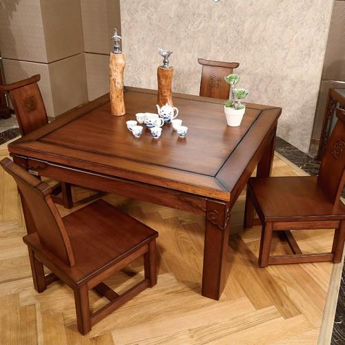 实木中式  家用餐厅两用方形餐桌-IMGL6857