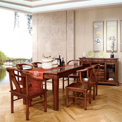 现代实木 中式长方形餐桌餐边柜-IMGL6842