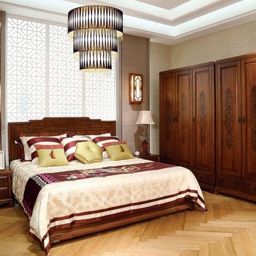 新中式  现代实木高箱双人床+五门衣柜-IMGL6865