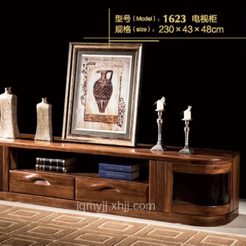 实木电视柜 胡桃木色客厅地柜1623