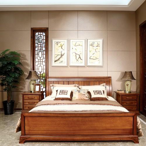 新中式  现代时尚简约实木床-IMGL6872