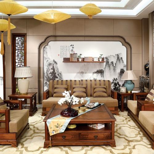 纯实木 现代中式布艺沙发1+2+3-IMGL6889