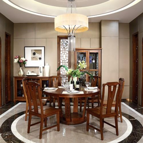纯实木 现代中式六人座大圆餐桌-IMGL6900