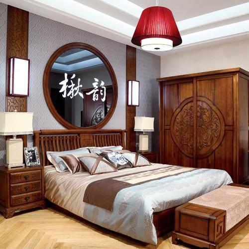 现代中式  经典实木双人床+雕刻花纹推拉门衣柜-IMGL6906