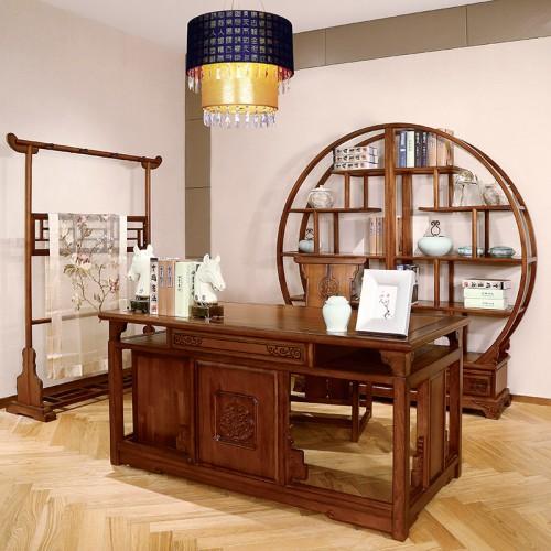 新中式   现代实木长书桌 经典圆形展示柜-IMGL6934