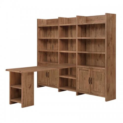 原生态田园实木书柜带书桌P-S805