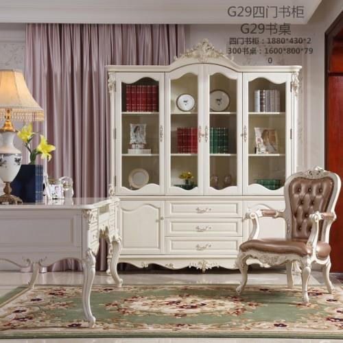 简约欧式玻璃门书柜
