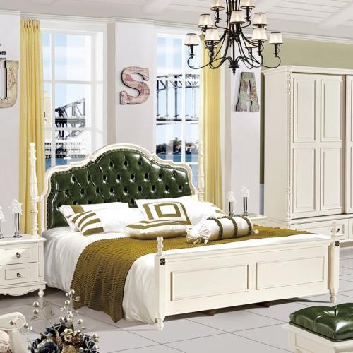 北欧现代简约美式床衣柜梳妆台套房702