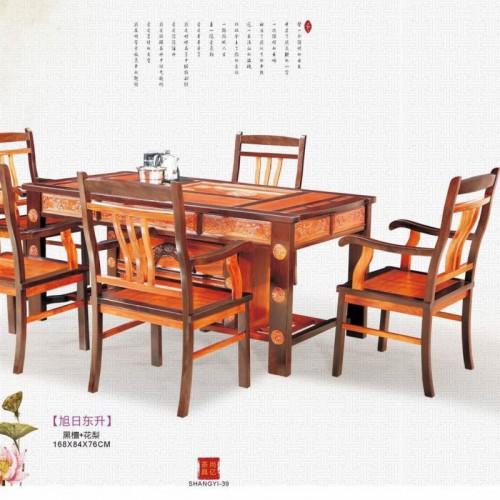 实木茶桌椅组合 茶桌实木 功夫茶桌茶台 黑檀茶桌 花梨茶桌+5东升椅子_IMG_0067