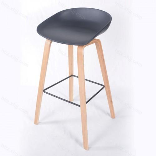 北欧实木吧台椅酒吧椅现代简约高脚凳03