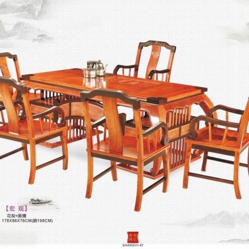 花梨木茶几桌 黑檀木茶桌 实木茶桌椅组合 新中式功夫茶几茶台+黑檀花梨富贵椅_IMG_0075