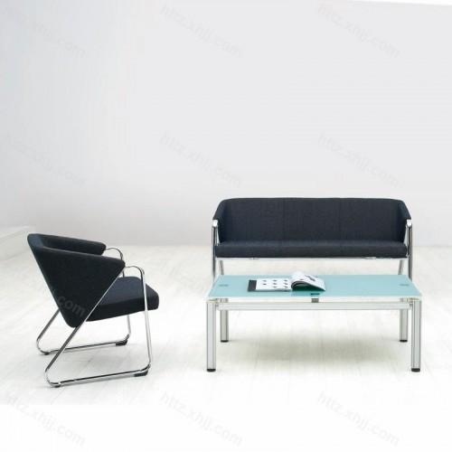 简约办公不锈钢腿接待沙发会客洽谈沙发12