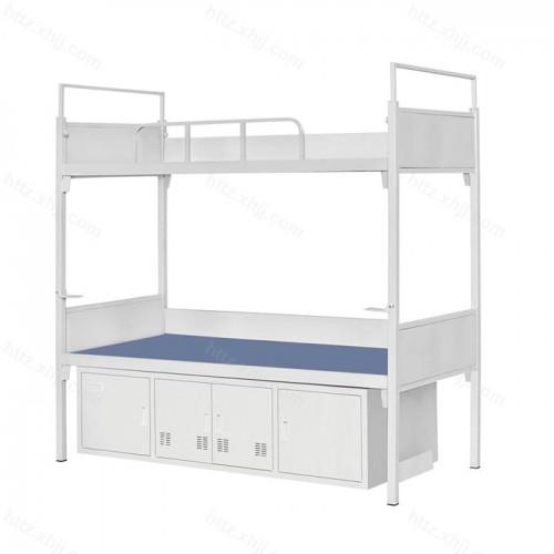 双层床高低床上下铺铁架床带四门储物柜07