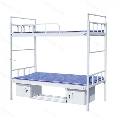 双层床高低床上下铺铁架床带双开门储物柜08