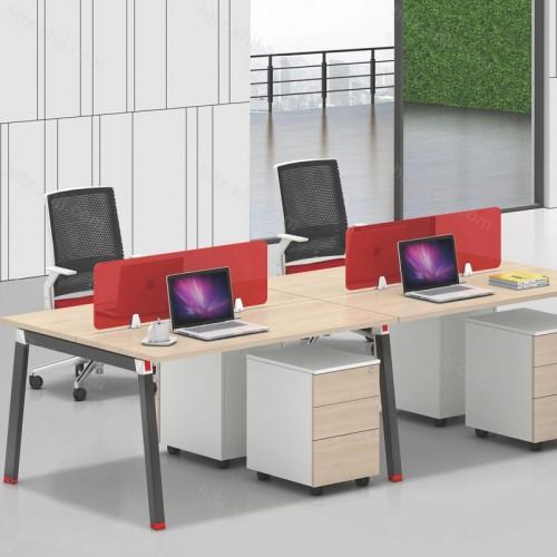 简约现代四人位屏风办公桌13
