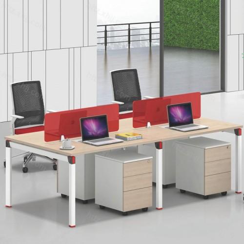 简约现代四人位屏风办公桌带移动储物柜14