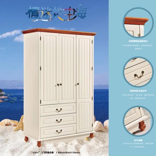 地中海风格简约三门带抽衣柜1601