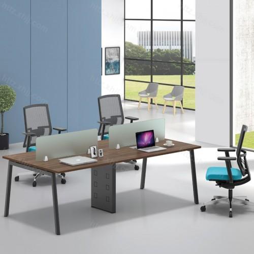 简约现代屏风隔断四人位办公桌45