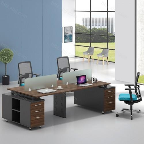 简约现代屏风隔断办公桌带储物柜46