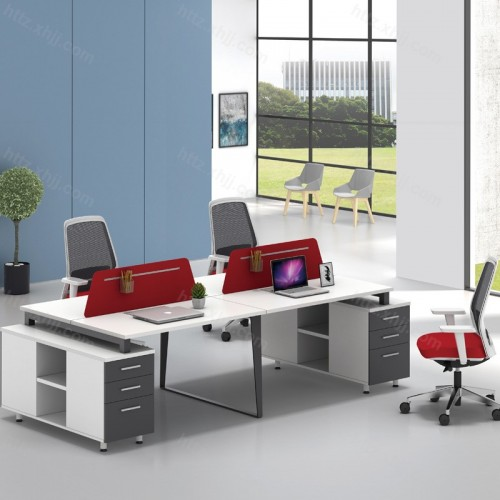 简约现代屏风隔断四人位办公桌带储物柜50