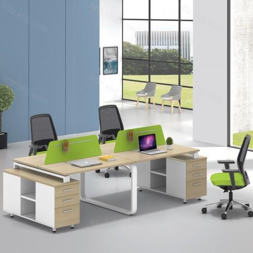 简约现代屏风隔断办公桌带储物柜52