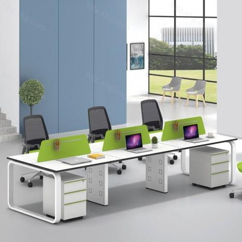 简约现代屏风隔断办公桌带移动储物柜53