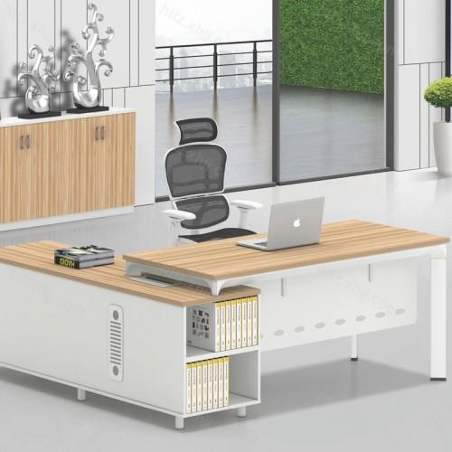 简约现代经理桌老板办公桌带书柜11