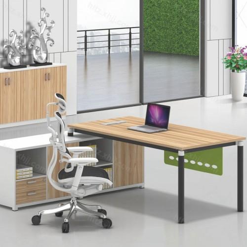 简约现代办公桌带文件柜书柜19