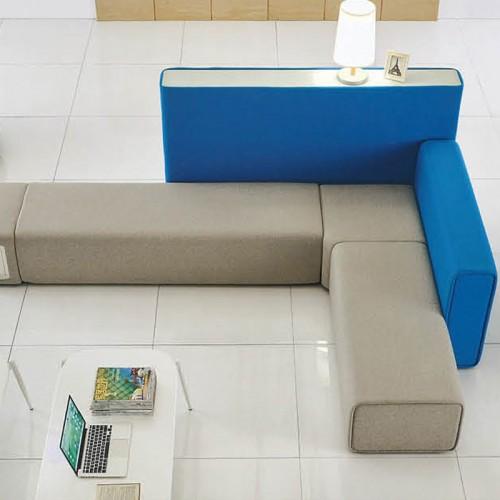 时尚创意高背屏风沙发办公室转角长形沙发06