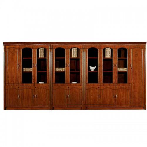 实木带玻璃门文件柜组合办公书柜CY3009